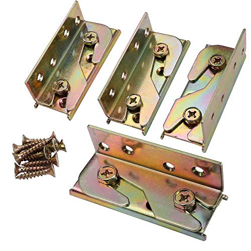 KASUNEN Bed Rail Brackets - Bed Rail Fittings - Heavy Duty Non-Mortise - Set of 4 (Screws Included)