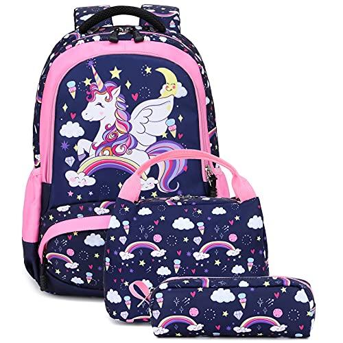 Mochila Unicornio Niños Impermeable Mochila Escolar para Adolescente Pequeñas Mochilas Infantil Bolso para Chicas para La Escuela,Viajes,Intemperie Juego de 3 - Azul Navy