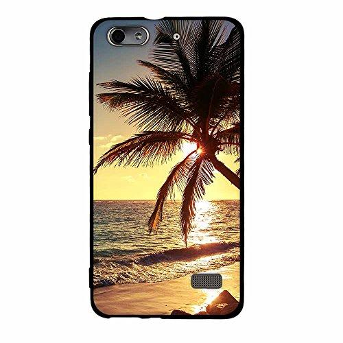 FUBAODA für Huawei Honor 4C / G Play Mini Hülle, [Beach Sonnenuntergang] Fashion Creative Minimalist Slim Fit Vollschutz Anti Schock Shockproof Flexible 3D für Huawei Honor 4C / G Play Mini