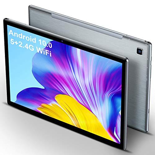 5G Tablet 10 Pollici con Wifi Offerte 4GB RAM 64GB 128GB Espandibili Android 10.0 Certificato Google GMS 1.6Ghz Tablet PC Quad Core 6000mAh 5+2MP Tablet WiFi Versione Bluetooth GPS Netflix(Argento)