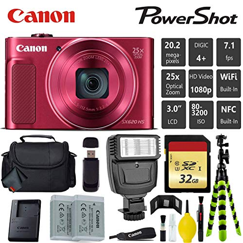 Canon PowerShot SX620 HS Digital Point and Shoot Camera (RED) + Extra Battery + Digital Flash + Camera Case + 32GB Class 10 Memory Card - International Version