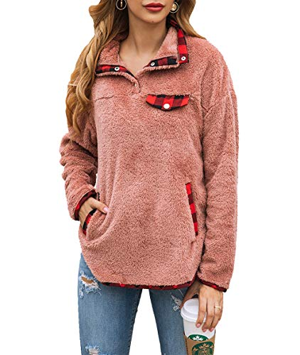 KIRUNDO Women's Fashion High Collar Long Sleeves Sweaters Plaid Print Fleece Button Down Short Sweatshirts with Pockets (X-Large, Red)