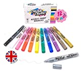Colour Create Acrylic Paint Pens for Rock Painting, Glass, Wood, Fabric & Canvas, Decorate All Surfaces with...