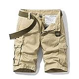 ShZyywrl Pantalones Cortos De Hombre Pantalones Cortos De Carga Militares De Color Caqui De Verano para Hombres, Ropa Corta Holgada Informal para Hombres, Pant