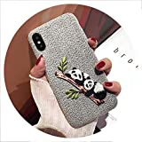 Embroidered Panda Phone Case for iPhone 6 6S 8 7 Plus Case Cute Panda Puppy Butt Cover for iPhone X XS Max XR Cases,2,for iPhone Xs