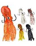 Octopus Swimbait Soft Fishing Lure with Skirt Tail, Lingcod Rockfish Jigs for Saltwater Ocean Fishing, 5Pcs/Pack