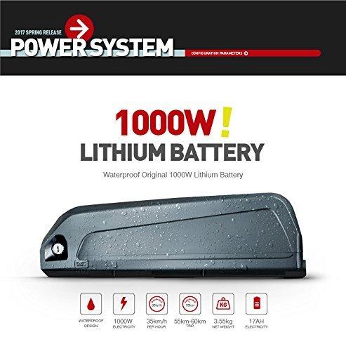 RICH BIT elektrisches Fatbike für Männer, 1000 W / 48 V / 17 Ah, Lithium-Akku, 26 Zoll x 4,0 Zoll, Scheibenbremsen, 21 Gänge, battery, 26*4.0