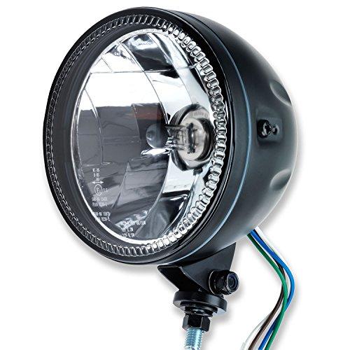 """5 3/4"""" LED Motorrad Haupt Scheinwerfer Skyline II LED Standlichtring mit unterer Halterung schwarz universal E-geprüft"""