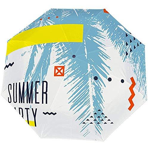 Reverse Inverted Windproof Hawaii Hawiian Modernes Poster mit Palmenschirm - Umgedrehte Regenschirme mit C-förmigem Griff