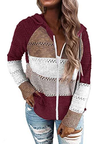 MEROKEETY Women Color Block Long Sleeve Hollow Out Hoodie Sweater Lightweight Sweatshirts Tops, B-ZipWine ,S