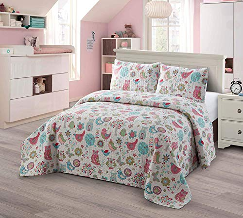 Luxury Home Collection Kids Toddlers Girls Bedspread Coverlet Quilt Set with Pillow Shams Multicolor Fun Printed Floral Design Owls Birds Butterfly Trees Flowers Blue Pink Purple Green (Twin/Twin XL)