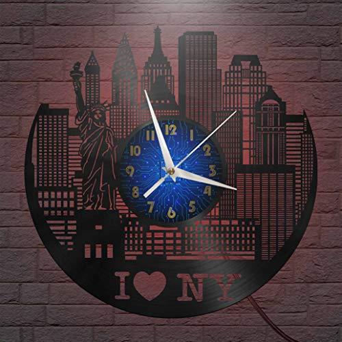 I Love New York Elements - Reloj de pared con disco de vinilo de 12 pulgadas, reloj de pared de vinilo para cocina, hogar, sala de estar, dormitorio, escuela (B) - con LED para mujeres, hombres, amigo