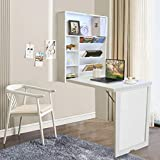 YAKEY Wall Desk, Wall Mounted Table, Fold Out Multi-Function Computer Desk, Convertible Floating Desk, Home Office Wood Wall Mounted Desk with Storage Area (White)