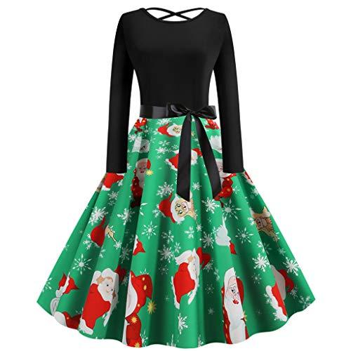 Weihnachtenkleid Für Damen, PPangUDing Kleid Damen Vintage 1950s Langarm Rundhals Schneemann Printed Patchwork Cocktailkleid Abendkleid Elegant Rückenfrei Knielang Minikleid (M,Grün)