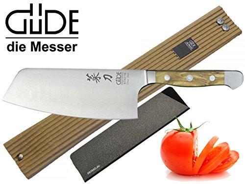 Güde Alpha Olive Messer Kochmesser Santoku Brotmesser Schälmesser Schinkenmesser Chai Dao ohne/mit Gravur + Prymo Farbe 1) Messer OHNE Gravur, Größe Chai Dao 16cm