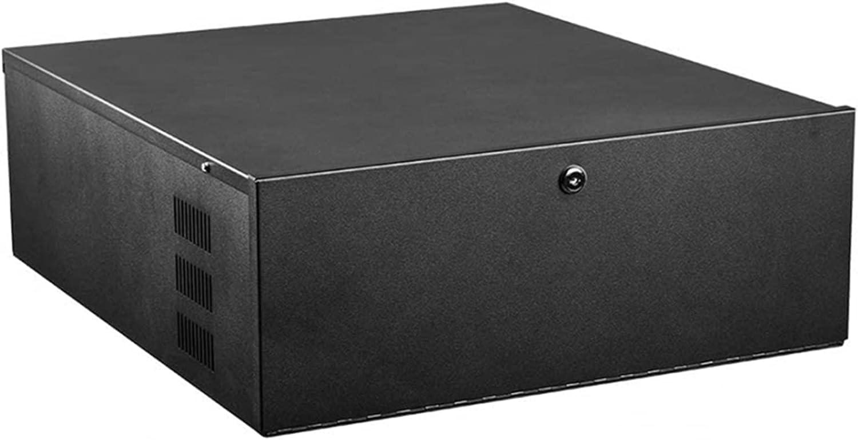 TECHTOO DVR Security Lockbox Heavy Duty 16 Gauge DVR Box Enclosure with Fan for Surveillance System (18'' X 18'' X 5'', Black)