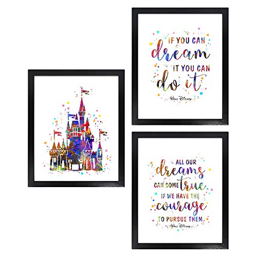 Dignovel Studios Unframed (Set of 3) 8X10 If You Can Dream It You Can do It Inspirational Quotes Watercolor Art Print Girl Boy Room Decor dnc25