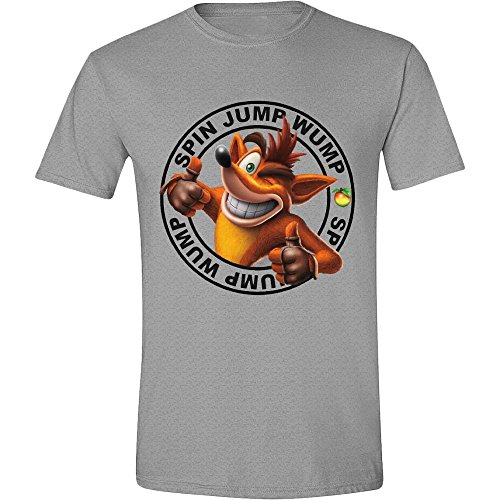 Crash Bandicoot: Jump Wump Crash Grey Melange (T-Shirt Unisex Tg. L)
