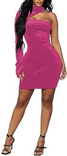 CORAFRITZ Damen Mode High Neck One Shoulder Slim Fit Hip Hugging Mini Kleider