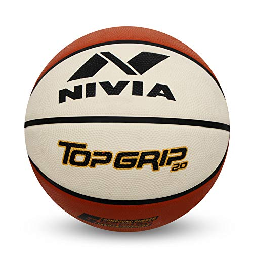 Nivia 1119 Top Grid 2.0 Rubber Basketball, Size 7 (White/Brown)