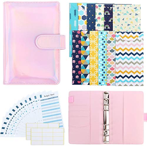 Xgood 28 Pieces PU Leather Budget Planner System Organizer Binder Cash Envelope for Budgeting Envelopes 12 Patterns Budget Money Envelopes, 12 Expense Budget Sheets with 24 Labels for Bill Planner