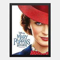 ハンギングペインティング - メリーポピンズ リターンズ ディズニーのポスター 黒フォトフレーム、ファッション絵画、壁飾り、家族壁画装飾 サイズ:33x24cm(額縁を送る)