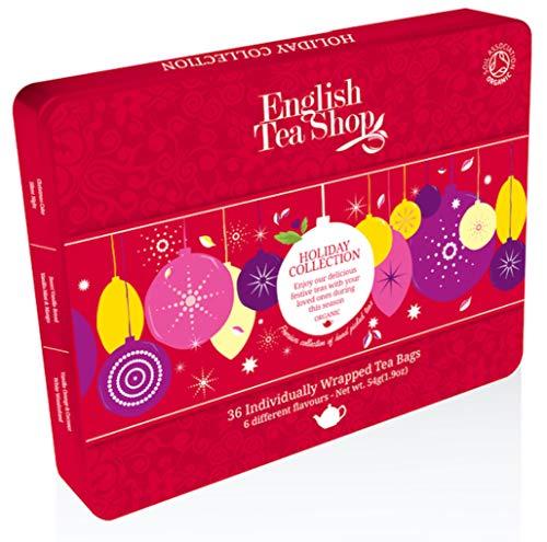"English Tea Shop - Tee-Geschenkbox aus Metall ""Red Christmas Balls"", 36 Teebeutel, BIO"