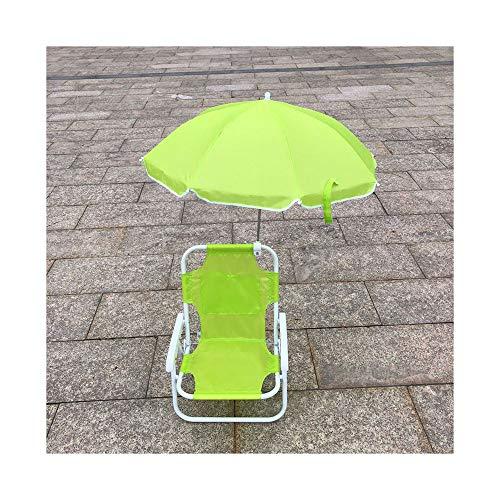 DTKJ Silla de playa infantil al aire libre, silla plegable con paraguas,...