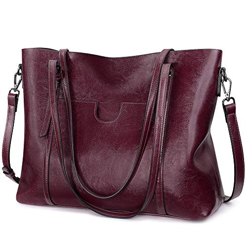 S-ZONE Women's Tote Bag Handbags Vintage 3-Way Soft PU Leather Large Casual Top Handle Shoulder Satchel Bag with Crossbody Strap for Ladies