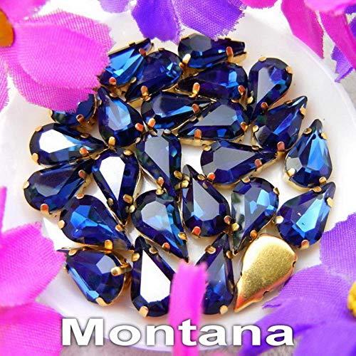 PENVEAT Cristal d'or Verre Griffe 3 * 6 * 6 mm 10 mm * 13mm 8 Couleurs de Fantaisie en Forme de Poire Fine Goutte d'eau recoudre Strass Perles de Bricolage, A12 Montana, 3x6mm 50pcs