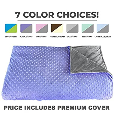 Premium Weighted Blanket, Perfect Size 60  x 80  and Weight(12lb) for Adults and Children. Deluxe CALMFORTER Blanket Relieves Anxiety, Stress, Agitation, Insomnia. Price Includes Cover!