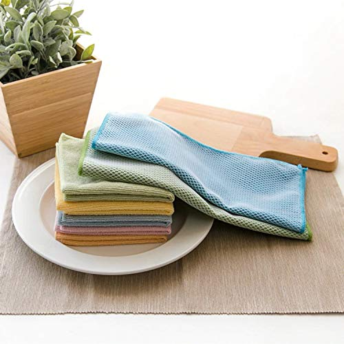 NUDAYEN SHOP Kitchen Dish Towels, 3PCS Microfiber Cloth for Washing Dishes, Kitchen Towel, Micro Fiber Towel, Kitchen Dishcloth with Nylon Net Strong Cleaning Cloth