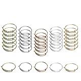 30 PCS Expandable Bangle Bracelet Adjustable Wire Blank Bracelet Expandable Bangle for DIY Jewelry Making Charms Bracelets (Silver White K AntiqueBronze Gold Rose Gold)