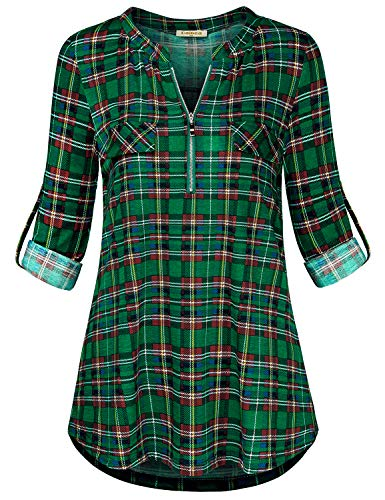 Baikea Henley Womens Shirt, Ladies Zip Up Split V Neck Roll-up Sleeve Tunic Shirts with Pockets Cuff Button Shirttail Hem Knitted Lovely Modern Dressy Blouses Dark Green Plaid L