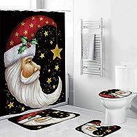 クリスマスシャワーカーテン、非スリップマット、トイレのふたカバーやバスマット、クリスマスの飾りのための4ピースバスセット Santa-Standard