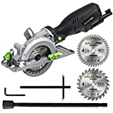 GALAX PRO 5.8 Amp 3500 RPM Mini Circular Saw, Max. Cutting Depth 1-11/16'(90°),1-1/8'(45°)Compact Saw with 4-1/2' 24T and 40T TCT Blades, Vacuum Adapter, Blade Wrench, and Rip Guide