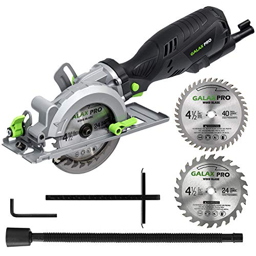 GALAX PRO 5.8 Amp 3500 RPM Circular Saw, Max. Cutting Depth 1-11/16'(90°),1-1/8'(45°)Compact Saw with 4-1/2' 24T and 40T TCT Blades, Vacuum Adapter, Blade Wrench, and Rip Guide