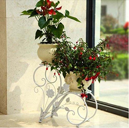 FZN Pots de Fleurs Continental Fer Balcon Plancher Multicouche Passer Le Cadre d'assise Salon Minimaliste Pots de Fleurs (Couleur : Blanc)