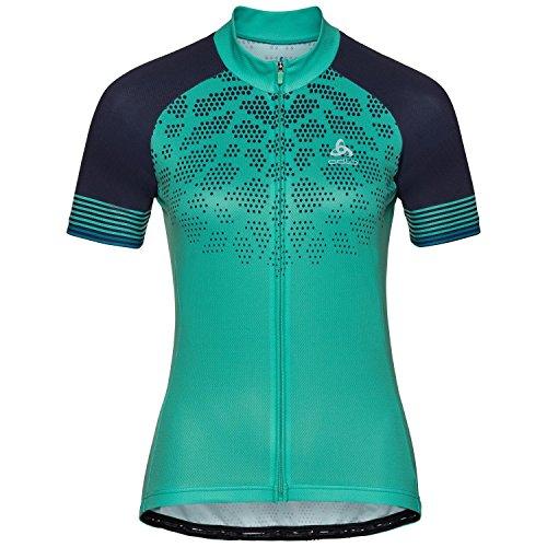 Odlo Damen Shirt Stand-up Collar s/s Full Zip FUJIN Print, Pool Green - Diving Navy, S, 411441