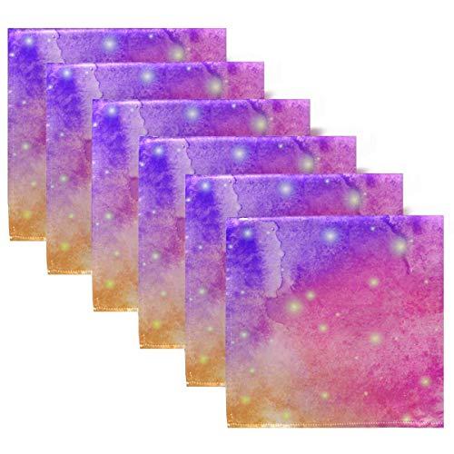 Servilletas de Tela Galaxy Sky Juego de 6 servilletas de Cena, servilletas de Mesa Reutilizables Lavables para cócteles, Vacaciones, Bodas, hogar, decoración