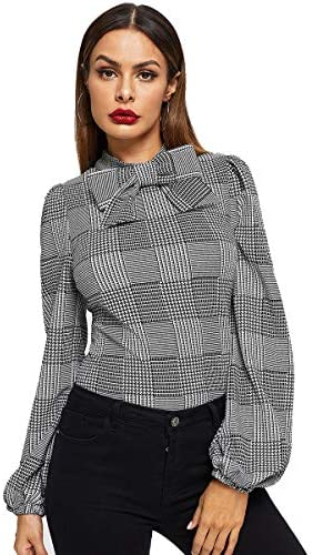 Romwe Women s Vintage Bow Tie Neck Bishop Sleeve Plaid Workwear Blouse Top Grey L product image