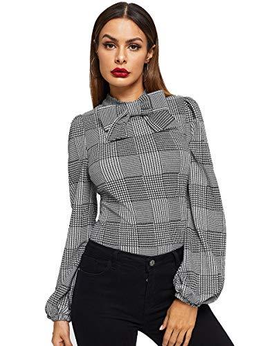 Romwe Women's Vintage Bow Tie Neck Bishop Sleeve Plaid Workwear Blouse Top Grey M