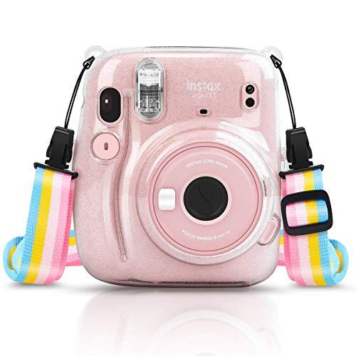 Cpano Crystal Case para Fujifilm Instax Mini 11 Cámara de película instantánea con una Linda Correa Ajustable (Brillante)