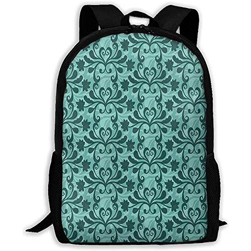 Mochila Free Vector Teal Western Flourish Pattern Zipper Bookbag School Daypack Mochila De Viaje Gym Book Bag Hombre Mujer Hombro Bolsa College Bag Mochila