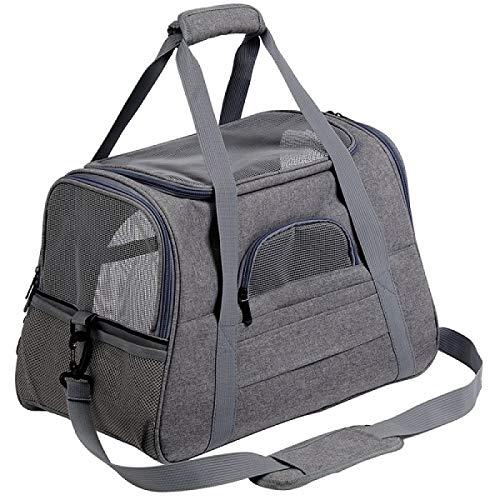 WWWL Mochila transportadora para mascotas, portátil, para mascotas, gato, perro, transpirable, para transporte de gatos, aprobada por aerolíneas, para gatos, perros pequeños, M (44,5 x 25 x 28 cm)
