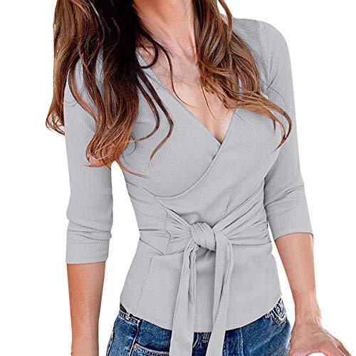 OSYARD Damen Sweatshirt OberteilePullover, Frauen Solid Langarm Strickpullover Herbst Winter Freizeit Hemd Tunika Sexy V-Ausschnitt T-Shirt Hohe Taille Bandage Bluse Lose Tops Pulli (XL, Grau)