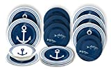 A Set of 12 Nautical Theme Melamine Dinnerware -Enjoy A Casual Meal With A Charming Look