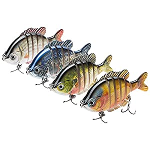 Bassdash SwimPanfish Multi Jointed Panfish Bluegill Swimbaits Topwater Hard Bass Fishing Crank Lure 3.5in/0.85oz, 4 Colors (Pack of 4 Colors)