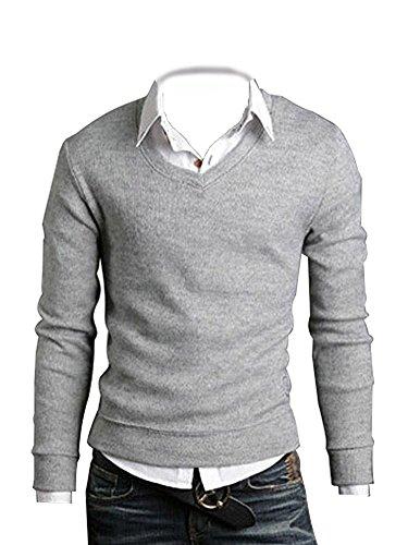 Minetom Fashionable Col en V et Manches Longues pour Homme Coupe Slim-T-Shirts Pull Décontracté (Gris Clair FR 40)