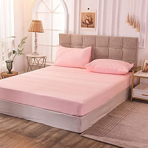 CYYyang Protector de colchón de bambú Funda de colchón y Ajustable Sábana de Cama de Color Puro de una Sola Pieza a Prueba de Polvo-Jade x_100x200x30cm